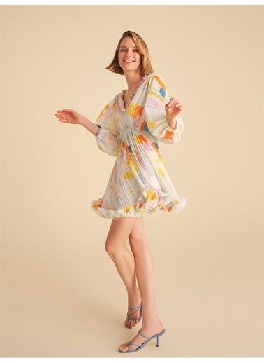 Nocturne Yarasa Kol Piliseli Mini Elbise Renkli